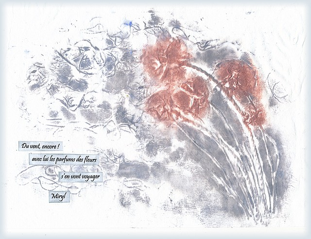 Illustration d'un haïku de printemps par Miryl - collagraphie