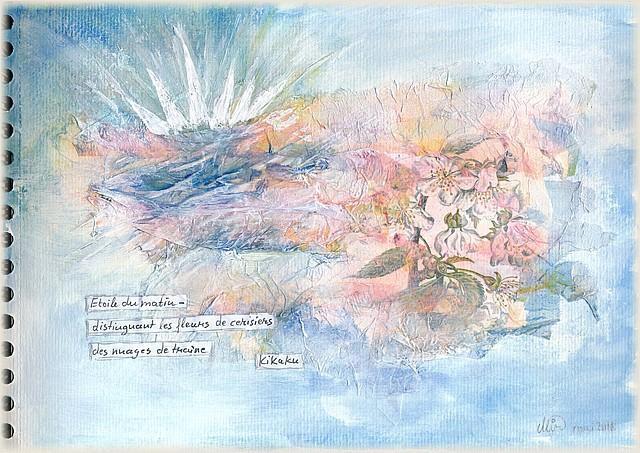 Illustration d'un haïku de printemps par Miryl