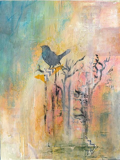 """""""Merle"""" par Miryl, 2016 mixed media, peinture"""