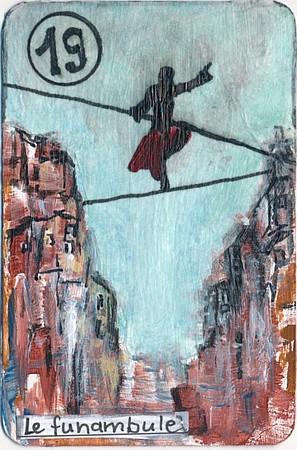 Le funambule, carte altérée, par Miryl
