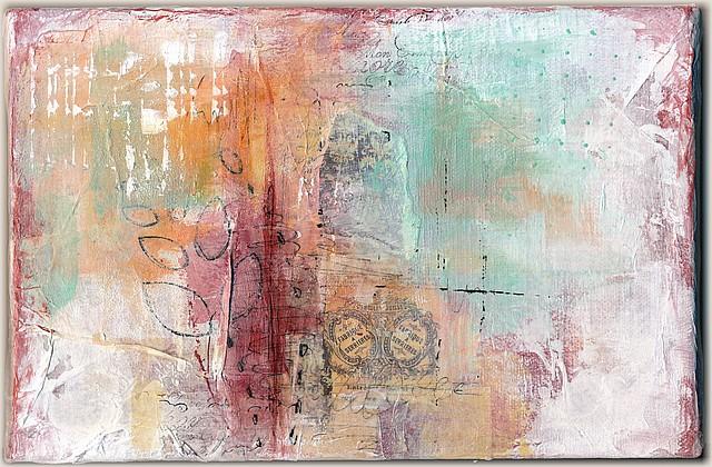 Triptyque, sans titre-1, par Miryl. Collage, peinture, encre. 16 x 24 cm