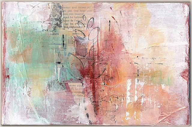 Triptyque, sans titre-2, par Miryl. Collage, peinture, encre. 16 x 24 cm