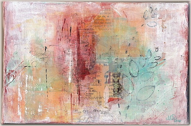 Triptyque, sans titre-3, par Miryl. Collage, peinture, encre. 16 x 24 cm