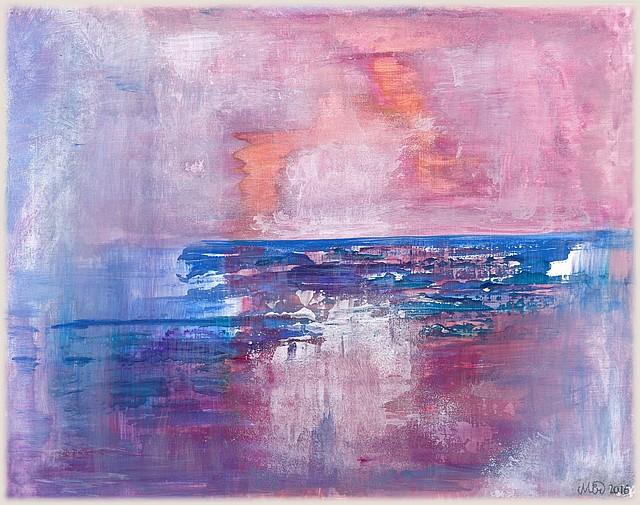 L'heure violette tableau sur papier, gouache et gesso, 23 x 29 cm, par Miryl