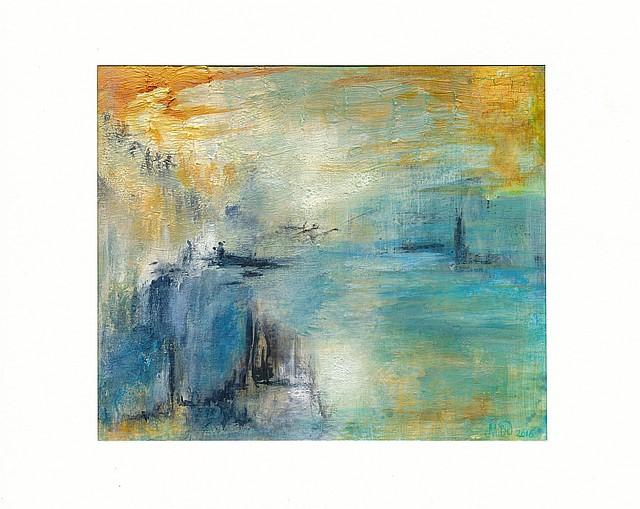 Happée par l'horizon Tableau mixed media sur papier cartonné (peinture, vernis à craqueler, encre), 21 x 18 cm, par Miryl, 2016