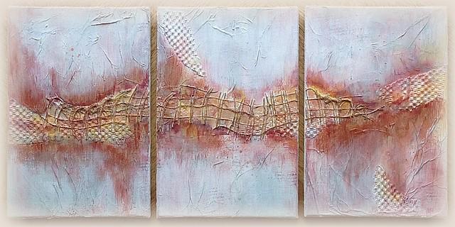 Triptyque cuivré, ensemble. Canvas mixed media, ... x ... cm chacun, par Miryl, 2016