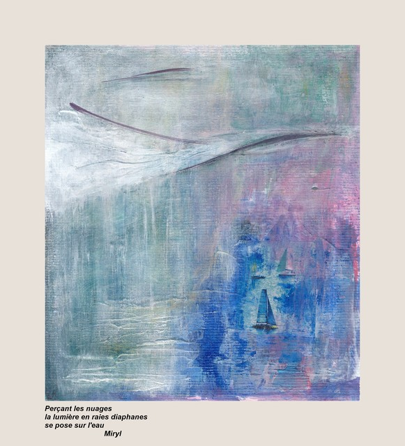 Haïku, texte et illustration. Peinture acrylique, par Miryl, 2016