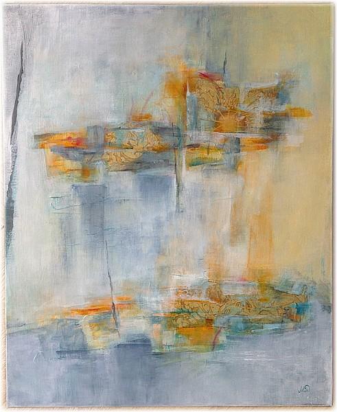 """""""Entre haut et bas"""", tableau abstrait sur canvas dans les tons pastels, collage et peinture acrylique, fine art by Miryl"""