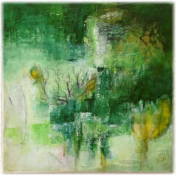 Tableau mixed media, peinture, le vert dans ma pratique de la peinture, fine art, by Miryl
