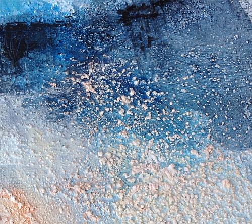 Paysage imaginaire abstrait texturé, tableau peinture acrylique, fine art, by Miryl