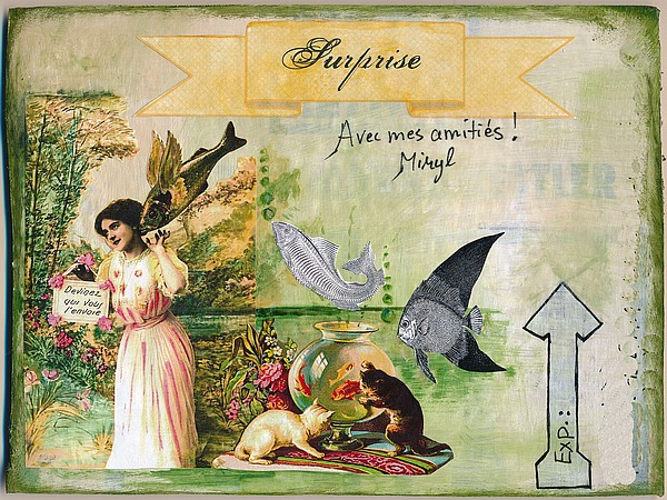 Mail art, collage, mixed media sur carton ondulé, par Miryl, 2018