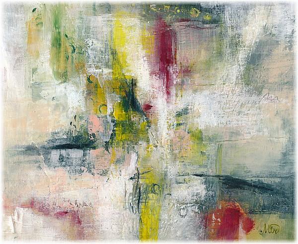 Tableau abstrait ou dialogue de quelques couleurs avec le blanc, peinture acrylique, fine art by Miryl