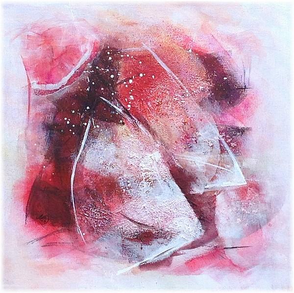Texture et nuances de rouge, tableau abstrait, fine art by Miryl