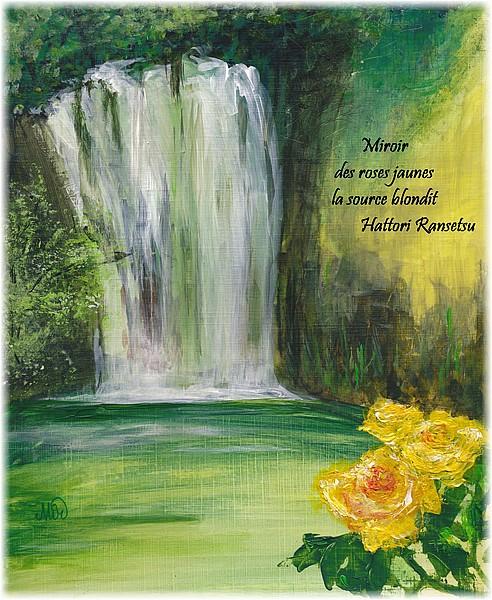 Haïkus en juin, illustration d'un haïku de printemps, par Miryl, mixed media