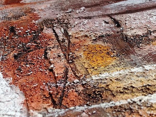 Teintes terre avec texture et coulures, tableau abstrait, détail, fine art by Miryl