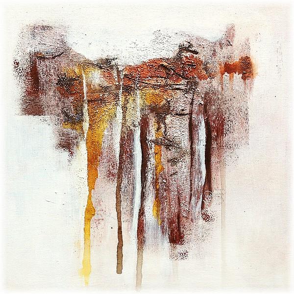 Teintes terre avec texture et coulures, tableau abstrait, fine art by Miryl