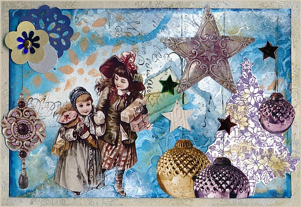 carte de Noël, mixed media, par Miryl