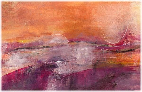 Danse du vent en l'honneur du couchant, mixed media sur papier, 31 x 23 cm, par Miryl, 2019