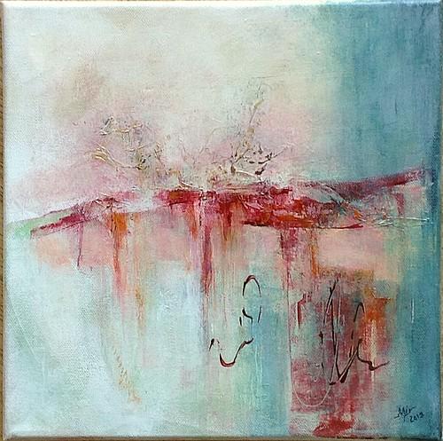 Candeur, peinture abstraite sur châssis, 30 x 30 cm, par Miryl, 2019