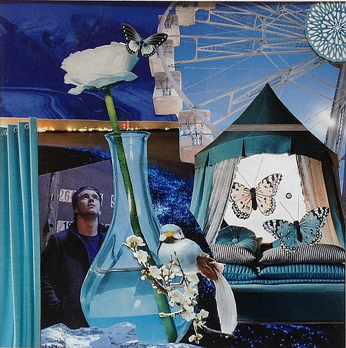 Quelque chose de bleu, collage par Miryl, 2019