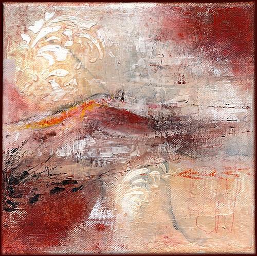 Peinture intuitive, mixed media sur châssis, 20 x 20 cm, par Miryl, 2019