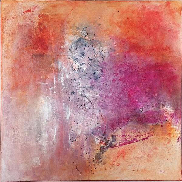 Fleurs de cerisier, tableau mixed media sur toile 50 x 50 cm, par Miryl, 2019