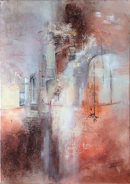 Fenêtre sur la ville, tableau mixed media sur toile 50 x 70 cm, par Miryl, 2019