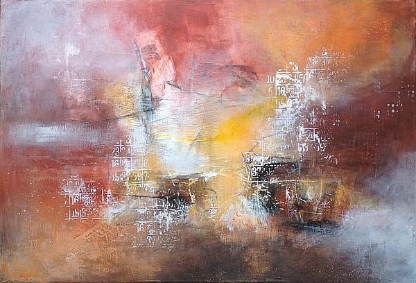 Tableau abstrait dans les teintes chaudes sur châssis, 70 x 50 cm, par Miryl, 2019