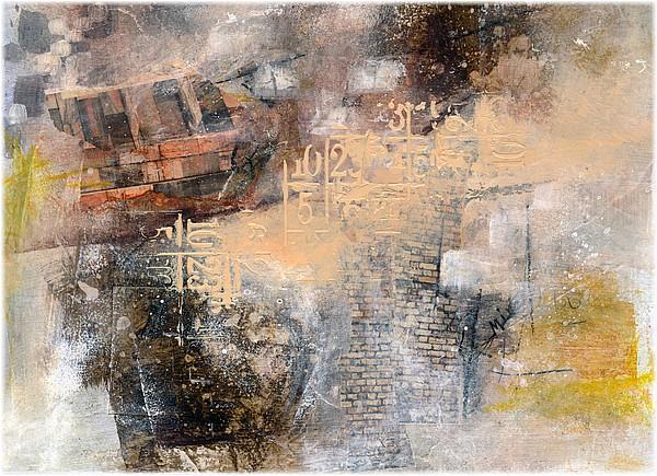 Dans les tons chauds, peinture et collage, env. 30 x 20 cm, sur papier, par Miryl, 2019