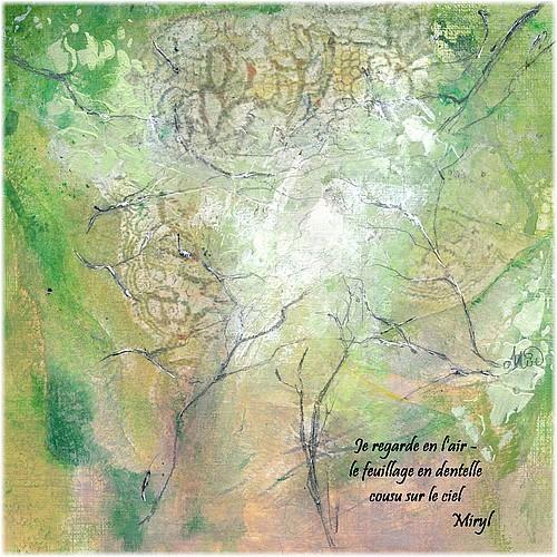 Haïku de juin, texte et illustration par Miryl, mixed media sur papier, 19 x 19 cm,2019