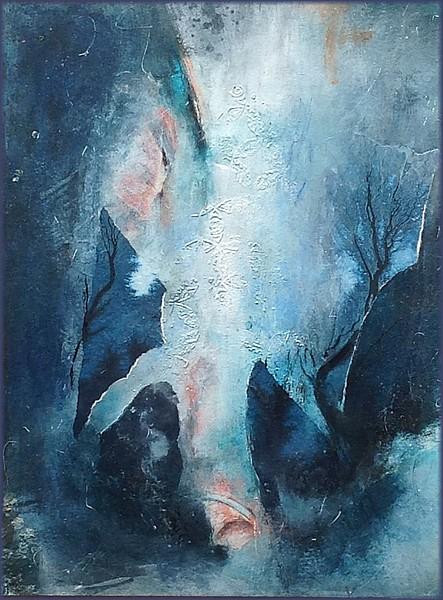Triptyque rafraichissant-1, par Miryl, 2019 mixed media sur papier, 30 / 40 cm