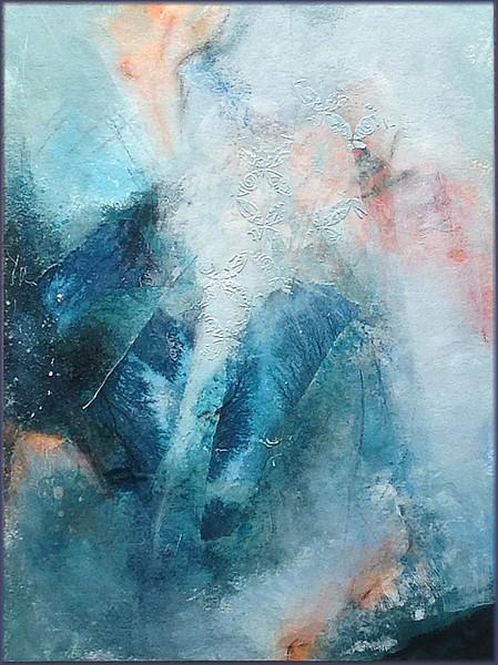 Triptyque rafraichissant, par Miryl, 2019 mixed media sur papier, 3 x 30 / 40 cm