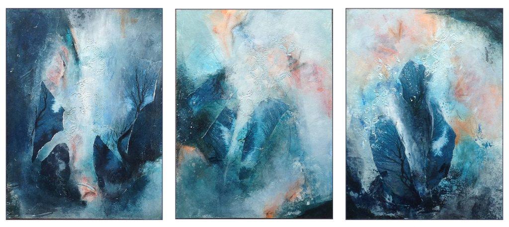 """Triptyque """"Ruissellement"""", par Miryl, 2019 mixed media sur papier, 3 x 30 / 40 cm"""
