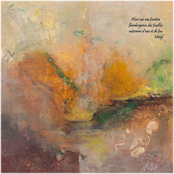 Octobre et ses couleurs flamboyantes en haïkus Texte et illustration d'un haïku,  par Miryl, 2019