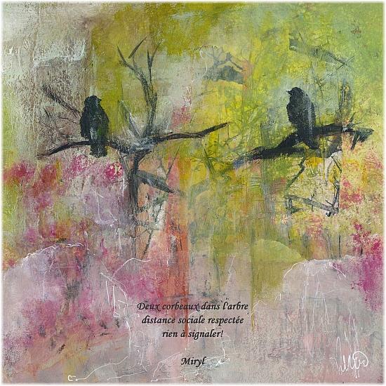 Texte et mise en image d'un haïku, par Miryl, 2020 cerisiers distance sociale haïkus