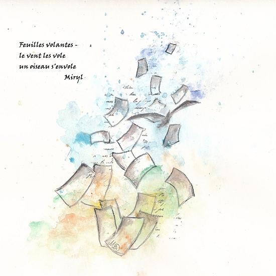 Haïkus de cet été Texte et illustration d'un haïku, dessin sur papier, par Miryl, 2020