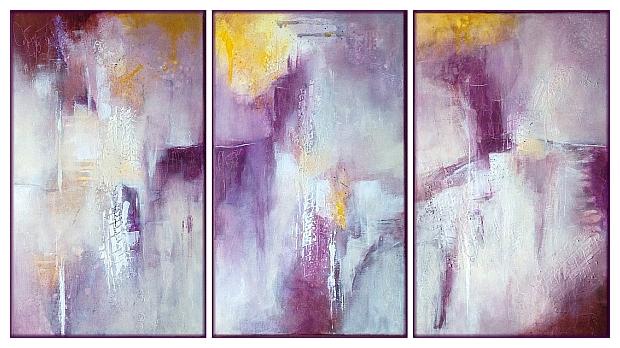 triptyque dans les tons de mauve, peinture abstraite par Miryl, 2020