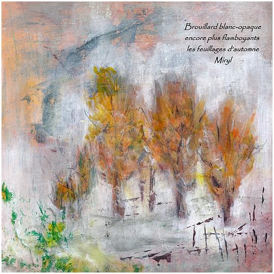 Brouillard pluie champignons et...haïkus, texte et illustration peinture, Miryl, 2020