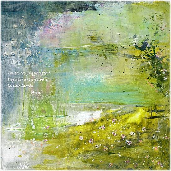 fleurs valse au crépuscule haïku, texte et illustration mixed media Miryl, 2021