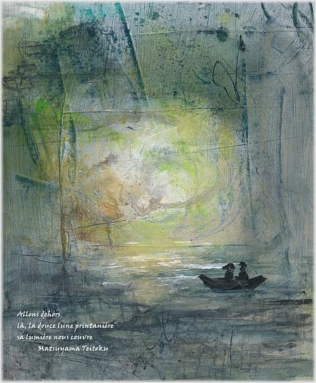 Promesses d'été: juin en haïkus  peinture, mixed media