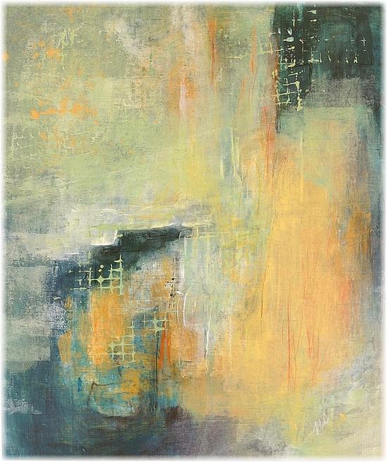 Perles de lumière à travers la brume, tableau abstrait, Miryl 2021