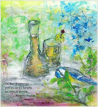 Un verre en terrasse: printemps et haïkus, mixed media par Miryl, 2021